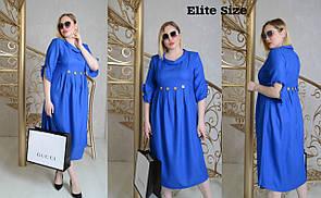 Льняное платье в больших размерах с завышенной талией 6BA1572