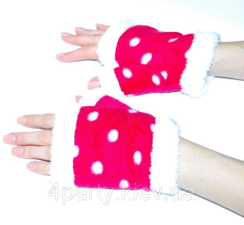 Перчатки-митенки снегурочки красные 11-2Pea