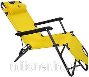 Шезлонг лежак Bonro 160 см желтый