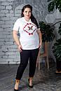 Женская летняя футболка в больших размерах с рисунком 10BA1585, фото 2