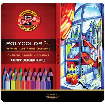 Набор цветных карандашей POLYCOLOR, 24 цв., мет. коробка, KOH-I-NOOR