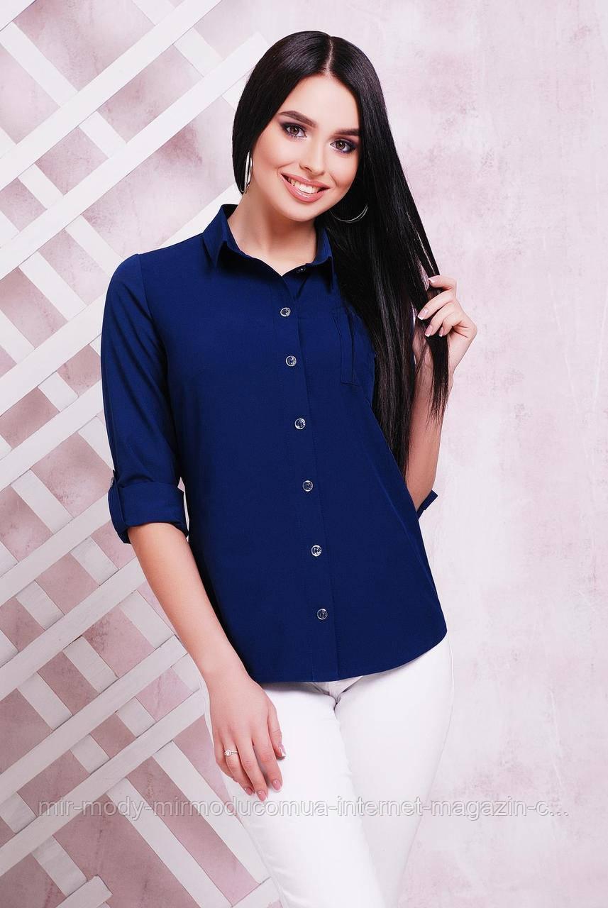 Блуза 1710 темно-синий (5 цвета) 42 по 50 размер(мас)