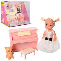 Игровой набор маленькая кукла пупс с набором мебели пианино, дочка барби, пианино, стул, Дефа Defa 8391