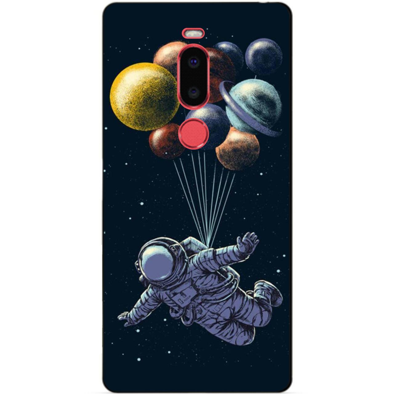 Чехол силиконовый для Meizu M8 с рисунком Космонавт
