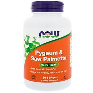 Now Foods, пиджеум и пальма сереноа, 120 таблеток. Сделано в США.
