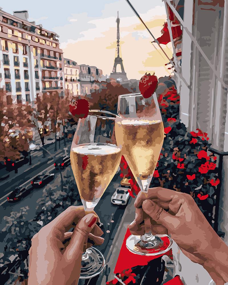 Картина по Номерам 40x50 см. Бокалы Парижа с ягодами