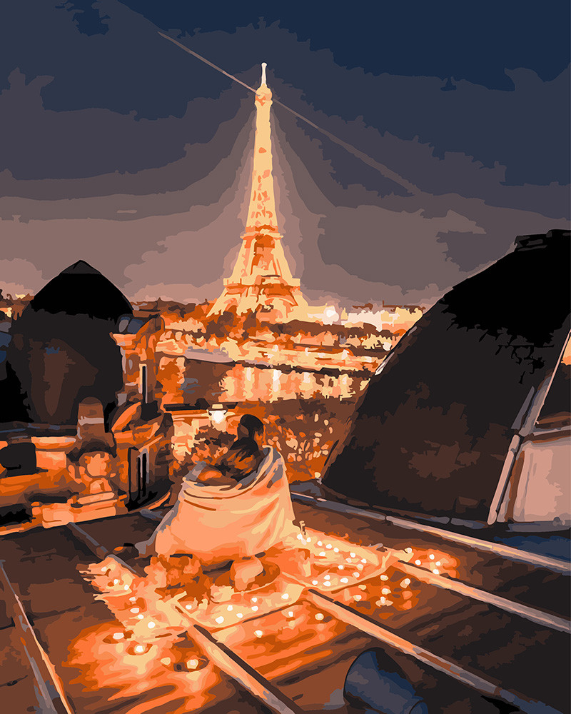 Картина по Номерам 40x50 см. Романтика ночного Парижа