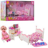 Игровой набор маленькая кукла пупс с набором мебели детская, дочка барби, спальня, кровать, Дефа Defa 8393