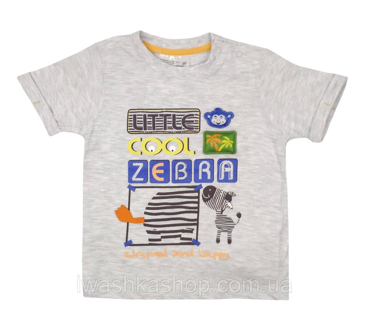 Стильная серая футболка на мальчика 9 - 12 месяцев, р. 80, Ergee / KIK