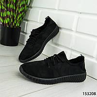 """Мокасины женские, черные """"Hency"""" текстильные, кроссовки женские, кеды женские, повседневная обувь"""