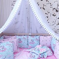 """КОМПЛЕКТ на четыре стороны в детскую кроватку """"Единороги на нежно мятном"""" 15 предметов"""