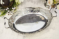 Посеребренное блюдо с ажурными бортами, ладья для фруктов, серебрение, мельхиор, Англия, фото 1