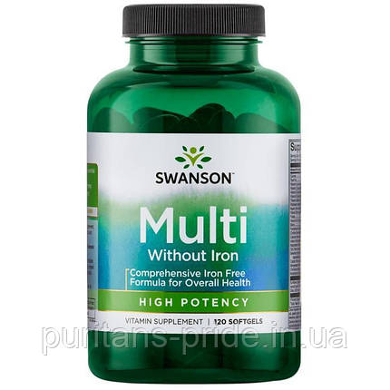 Swanson Premium Multi without Iron, High Potency 120 softgels, фото 2