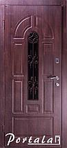 Двери уличные в наличии, серия Элегант, модель №4, гнутый профиль, с ковкой, со стеклопакетом