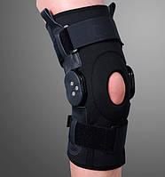 Ортез на коленный сустав с шарнирами для регулировки угла сгибания, разъемный ES-797, Ortop, Тайвань