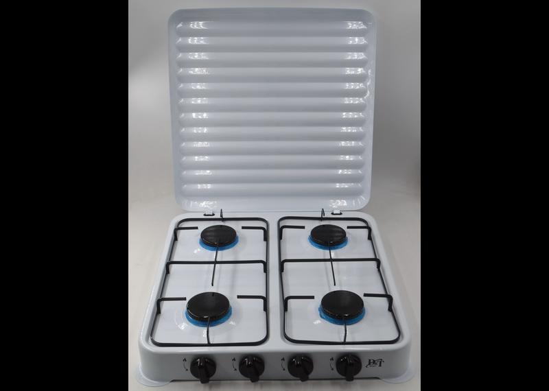 Плита газовая D&T DT-6004 настольная газовая плита 4 конфорки эмалированная с крышкой