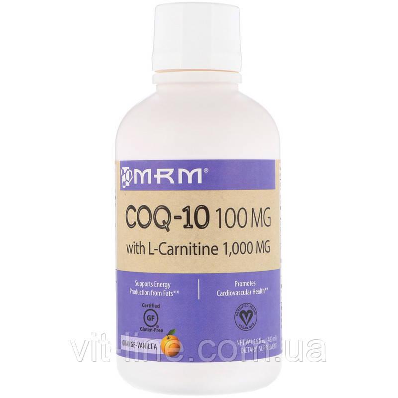 MRM, Коэнзим Q-10, 100 мг с L-карнитином 1000 мг, с натуральным ароматизатором апельсина,  (480