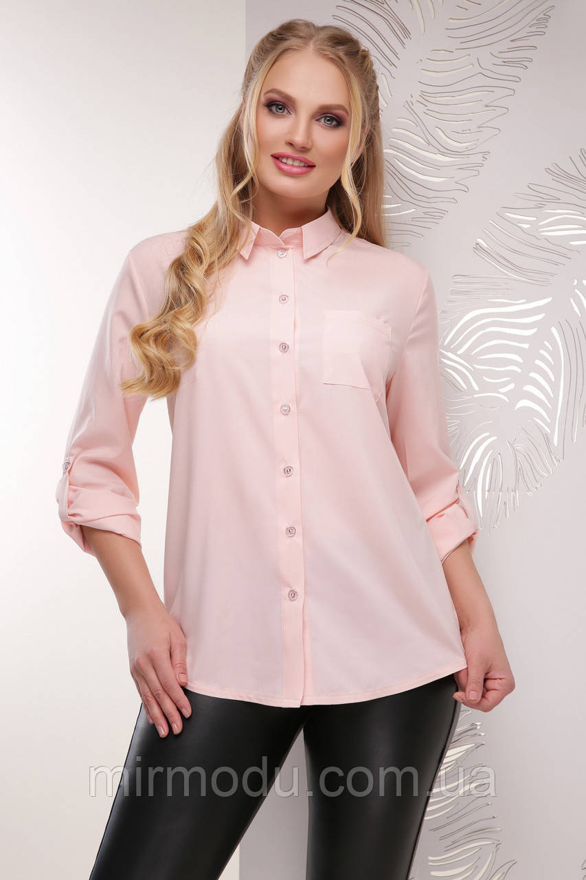 Батальная блуза 1710 пудра  (6 расцветок) 52 по 56 размер(мас)
