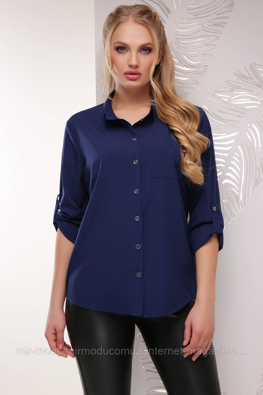 Батальная блуза 1710 темно-синий  (6 расцветок) 52 по 56 размер(мас)