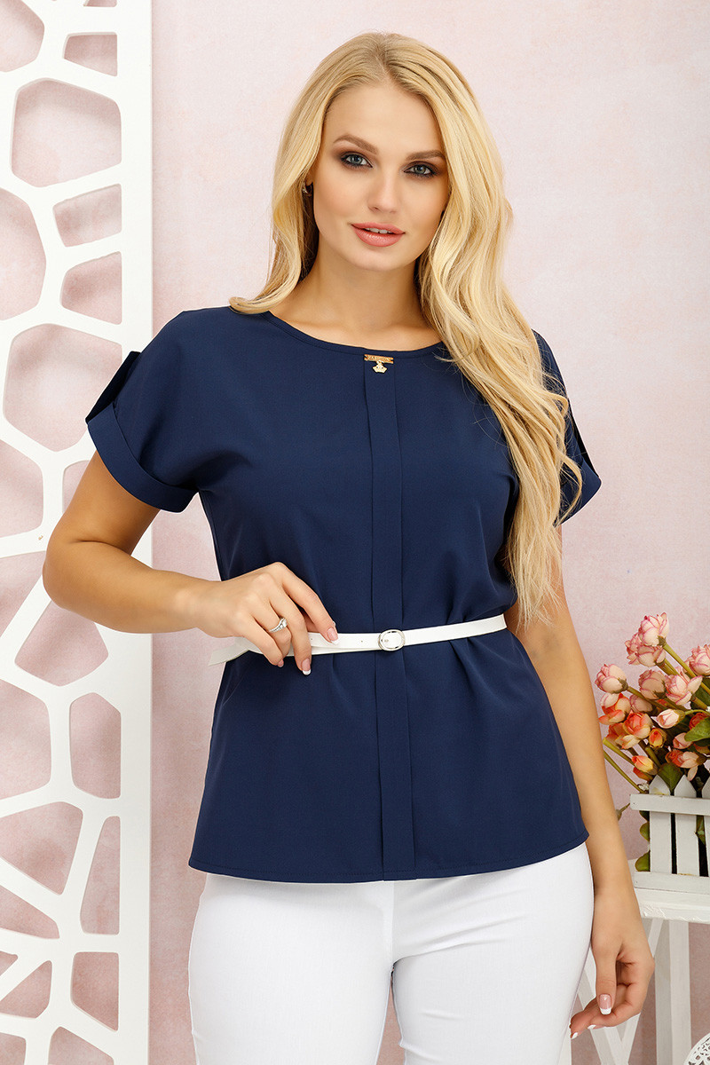 Блуза большого размера Санта темно-синий