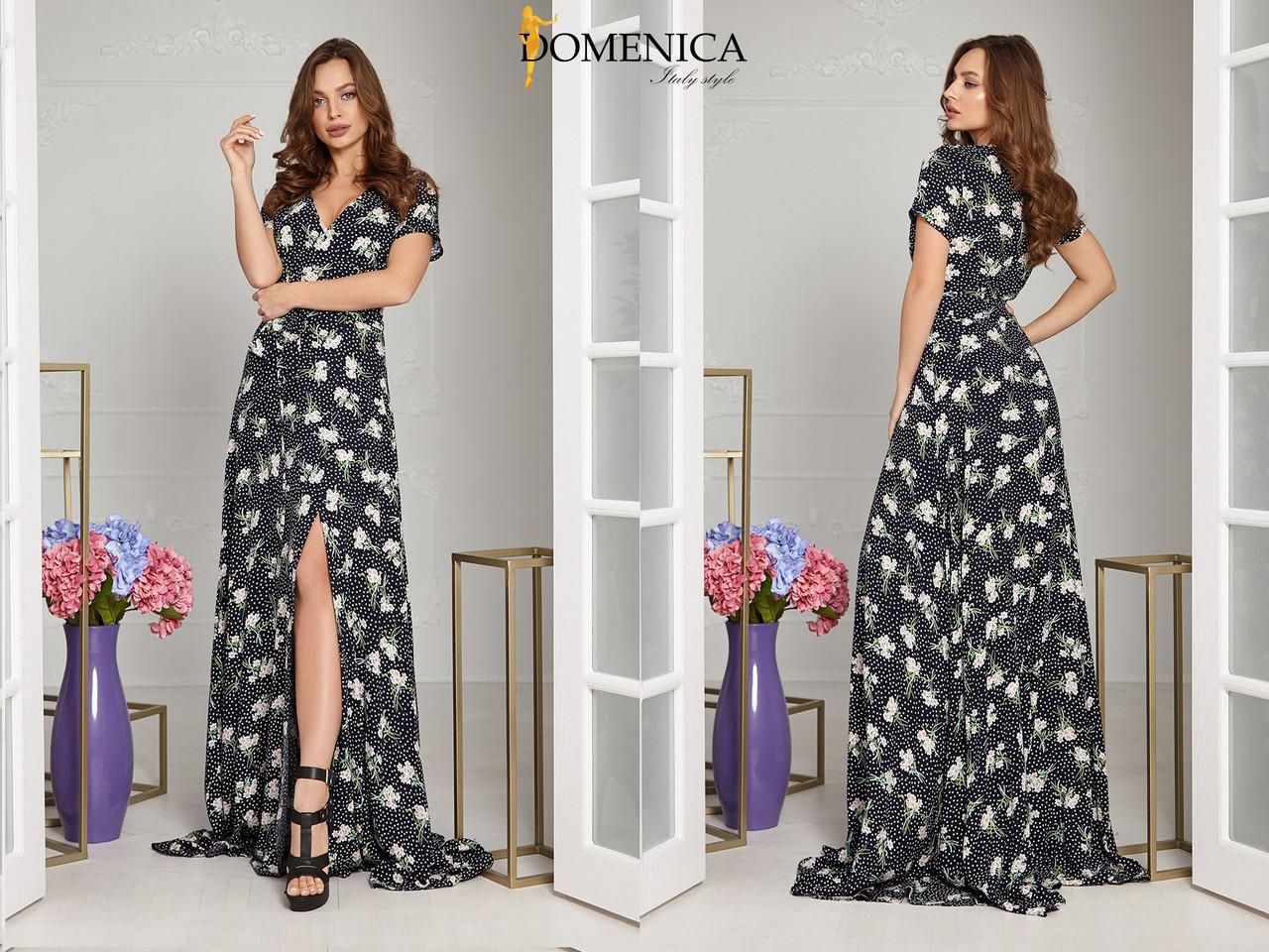 4803a8153a3 Длинное летнее платье с разрезом на ноге и коротким рукавом 31plt2562