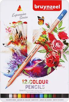 Набор цветных карандашей, EXPRESSION, 12шт., мет.коробка, Bruynzeel
