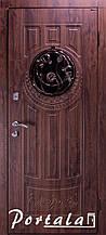 Двери уличные в наличии, серия Элегант, модель №5, гнутый профиль, с ковкой, со стеклопакетом