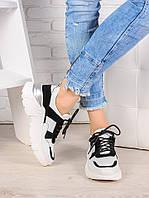 Кроссовки кожа в стиле Balenc!aga бело-черные 6993-28