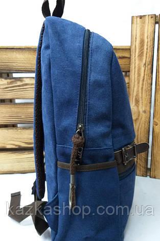 Школьный прочный рюкзак из плотного непромокаемого материала брезента, на 2 отдела, фото 2