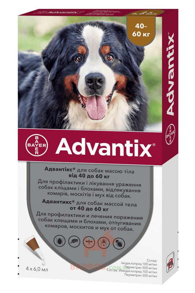 Адвантикс для собак 40-60 кг, 4 пипетки (капли на холку от блох и клещей)