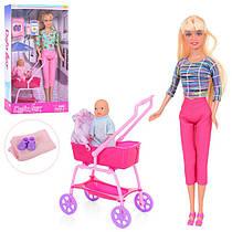 Кукла типа барби с ребенком (пупсом)(Дефа Defa), пупс, коляска, аксессуары, 8358-BF