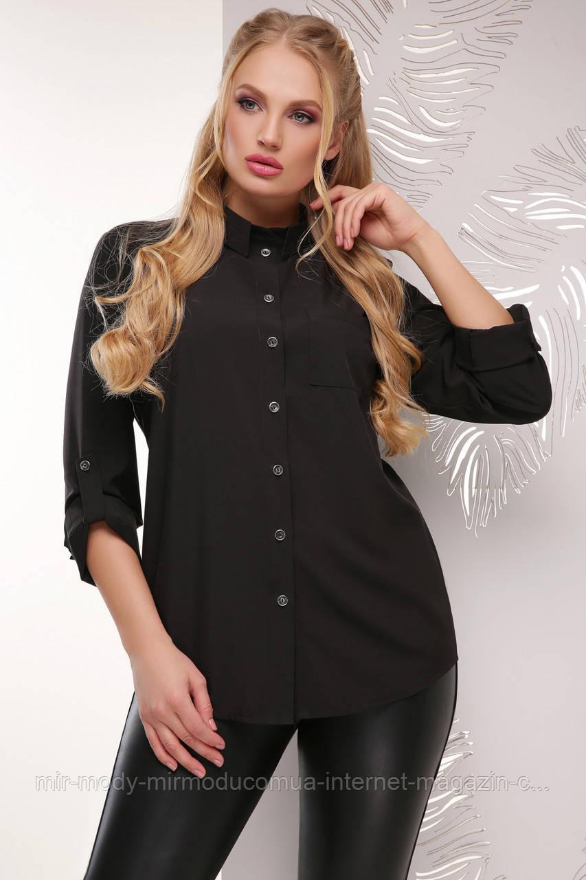 Батальная блуза 1710 черный  (6 расцветок) 52 по 56 размер(мас)