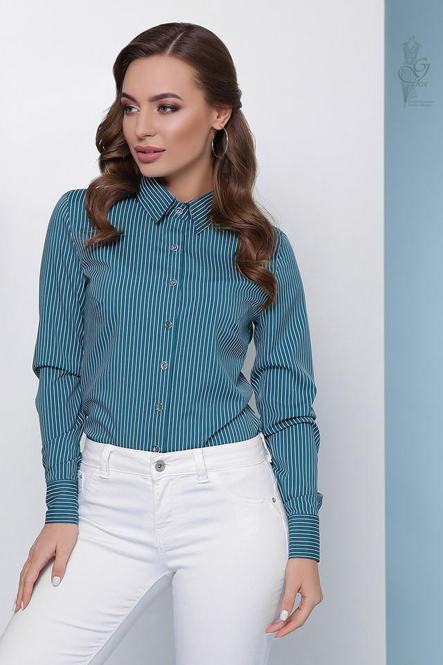 Зеленый цвет Женской приталенной блузки Доминика
