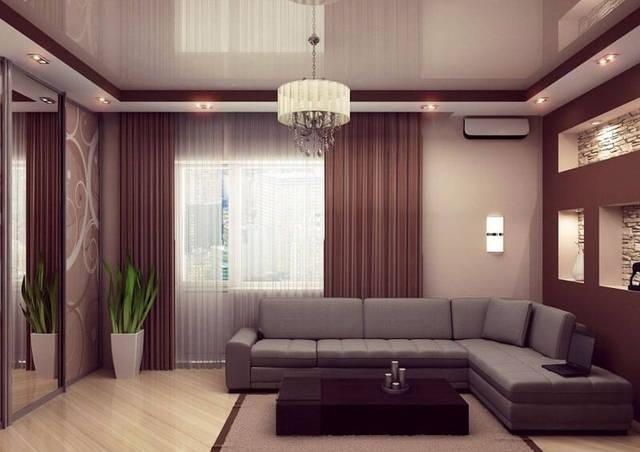 Натяжные потолки гостинная. -1