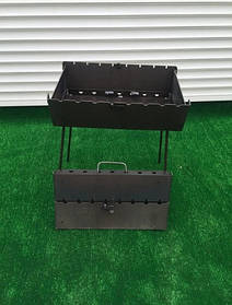 Мангал-чемодан на 12 шампуров складной-3мм ( качественный материал) ВЕЕР В ПОДАРОК