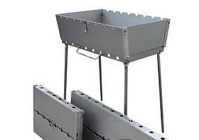 Мангал-чемодан на 10 шампуров складной-3мм ( удобный, переносной) ВЕЕР В ПОДАРОК