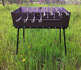 Мангал-чемодан на 8 шампуров складной-2 мм, двухуровневый ( плотные стенки, качественная сталь)