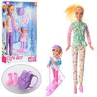 Кукла типа Барби с дочкой на лыжах, серия кукол Дефа Defa спортсменка, лыжи, рюкзак, 8356