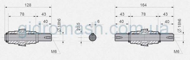 Размеры валов NMRV-040