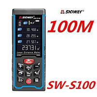 SNDWAY SW-S100 рулетка 100 метров лазерный дальномер цветной дисплей аккумуляторы крепление штатив уклономер