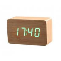 Часы настольные Wooden Clock Бамбук (зеленая подсветка) 1295