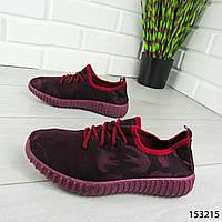 """Мокасины женские, бордовые """"Hency"""" текстильные, кроссовки женские, кеды женские, повседневная обувь"""