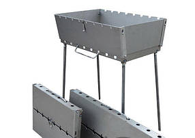 Мангал чемодан облегченный толщина 1,2 мм. На 6 шампуров ( супер мангал для шашлыка) ВЕЕР В ПОДАРОК