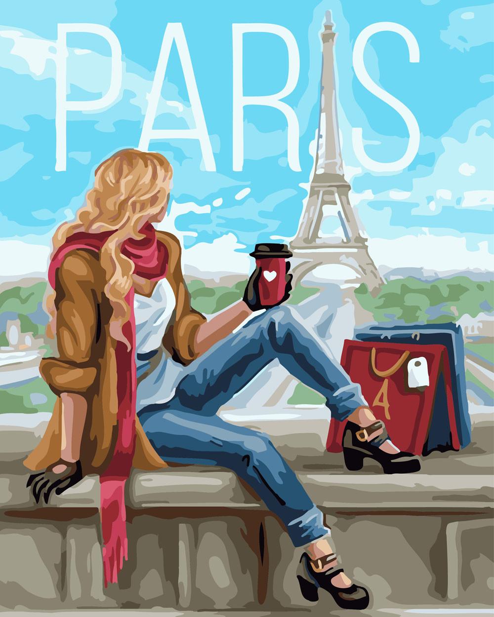 Картина по Номерам 40x50 см. Шопинг в Париже