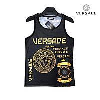 Майка мужская Versace (Версаче) - черная, брендовая, с принтом символика, супрем