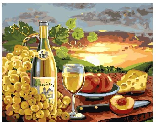 Картина по Номерам 40x50 см. Вино и сыр с видом на виноградники
