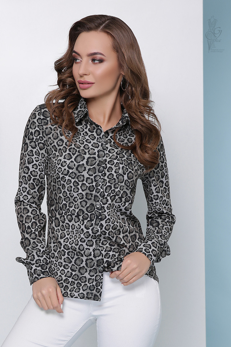 Леопардовая блузка Амалия с длинным рукавом