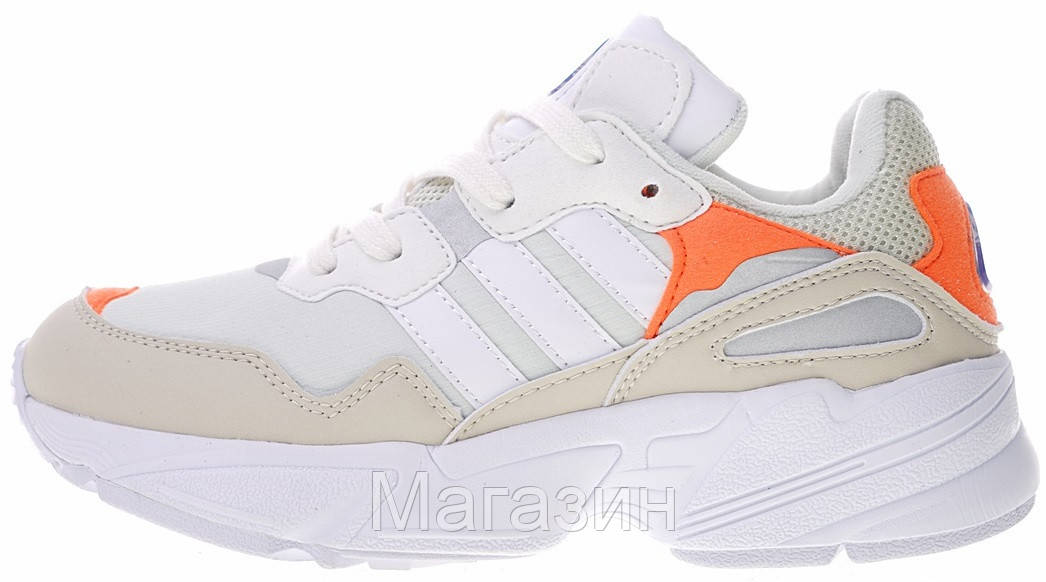 Женские кроссовки adidas Yung-96 Beige/White/Orange Адидас Янг 96 белые с бежевым