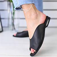Модные женские кожаные шлепанцы шлепки сабо на низком ходу на квадратном каблуке черные NS66VR07SE