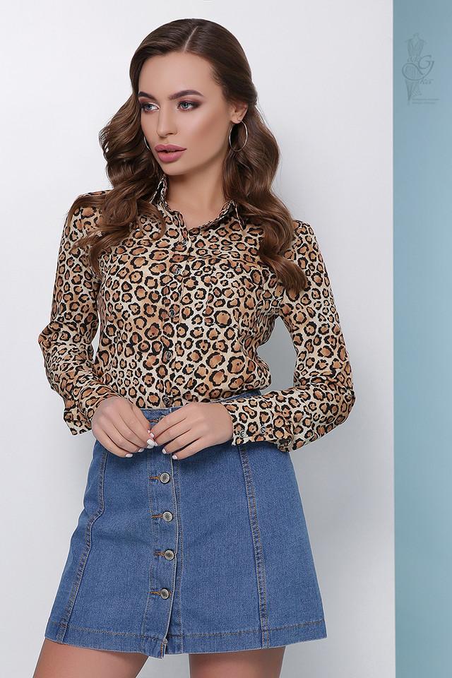 Цвет беж Леопардовой блузки Амалия